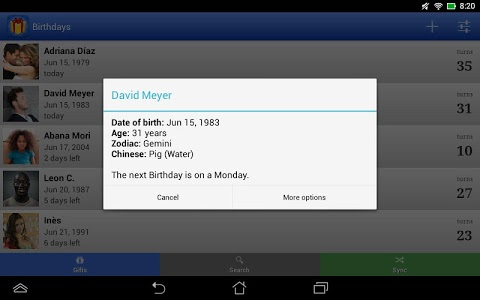 screenshot of Birthdays for Android version 5.0.6