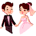 Bride & Groom Color by Number - Pixel Art Coloring