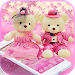 Download Cute Pink Teddy Bear Blooms Theme 1.1.3 APK