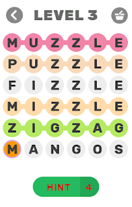 screenshot of Daily Word Search version 1.2.9z