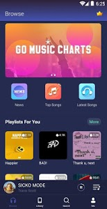 screenshot of GO Music - Free Music, Equalizer, Themes version 4.1.0