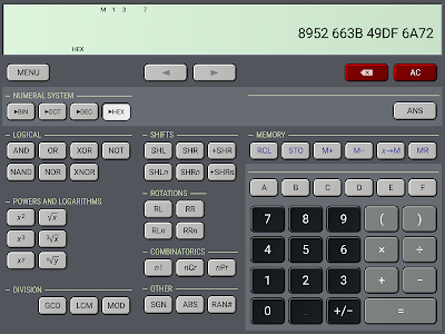 screenshot of HiPER Scientific Calculator version 6.4.1