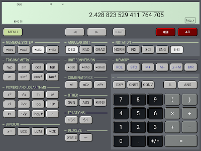 screenshot of HiPER Scientific Calculator version 4.0.3