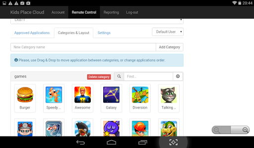 screenshot of Kids Place Remote Control and Monitoring version 1.4.5