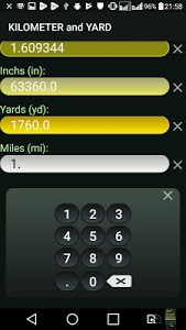 screenshot of Kilometer and Yard (km & yd) Convertor version 1.0