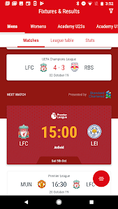 screenshot of The Official Liverpool FC App version 3.0.0