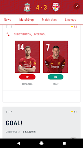 screenshot of The Official Liverpool FC App version 3.2.0