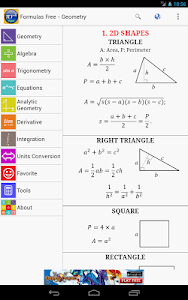 screenshot of Maths Formulas Free version 9.6