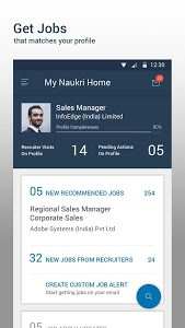 screenshot of Naukri.com Job Search version 10.2