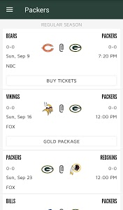 screenshot of Official Green Bay Packers version 3.2.6