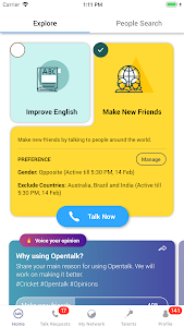 screenshot of Opentalk Live Audio Chat Practice English Speaking version Varies with device