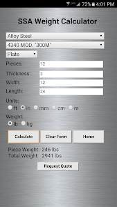 screenshot of Service Steel Calculator version 2.0.5
