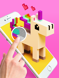 screenshot of Voxly - Color by Number 3D, Unicorn pixel art version 3.8
