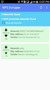screenshot of WPS WPA Connect Dumpper version 1.7