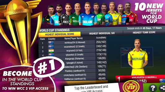 screenshot of World Cricket Championship 2 - WCC2 version 2.8.8.5